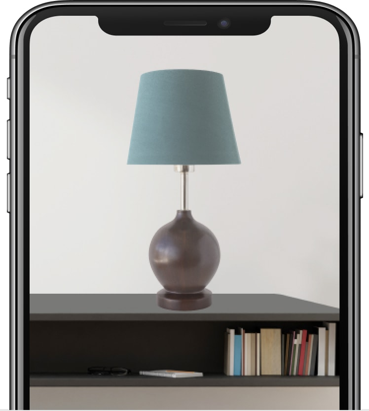 Image of a lamp in AR on a smartphone